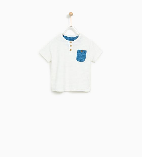 6bf19fccd1 Image 1 of T-SHIRT WITH CONTRASTING POCKET from Zara | T-shirt | T ...