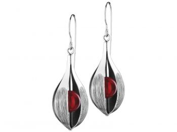 Oxydian silver earrings with coral - collection Arte from Apart.