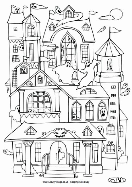 Haunted house coloring page plus other colouring pages