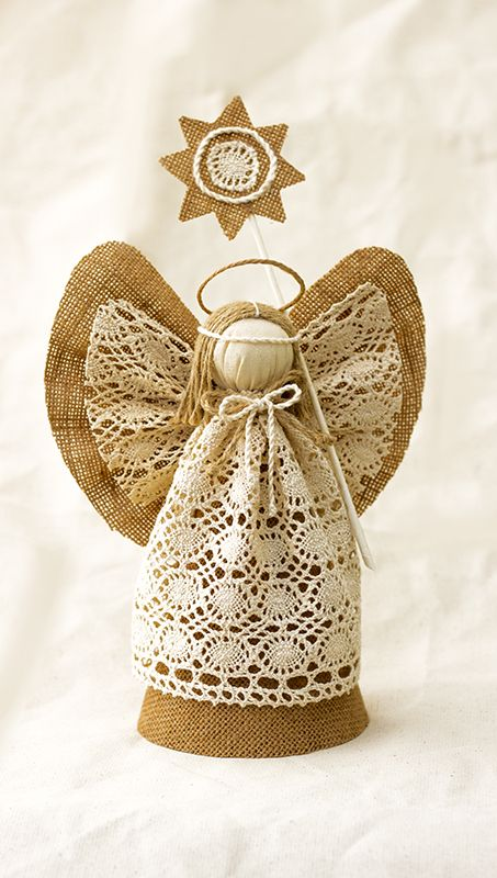 Angel Christmas Tree Topper Burlap Ornament Holiday Centerpiece Gift