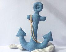 Anker speelgoed, pluche anker Denim speelgoed in nautische stijl. Blauwe zachte stof speelgoed. Geweldig idee voor nautische kwekerij, mooie baby douchegift