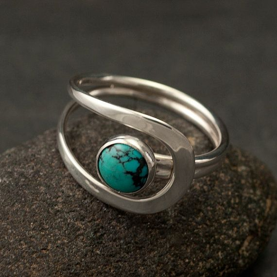 Turquoise Stone Ring Silver Turquoise by Artulia. I like unusual rings like this; not a full circle or unclosed.