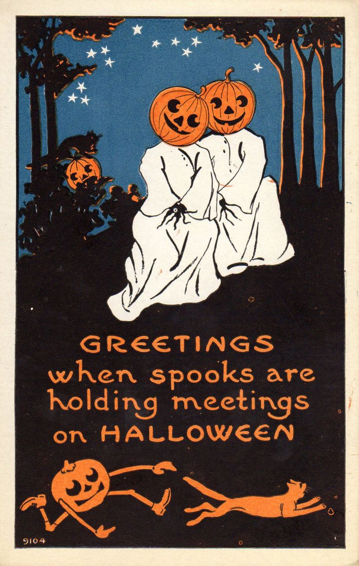 1938 Best Halloween Postcards Cards Images On Pinterest