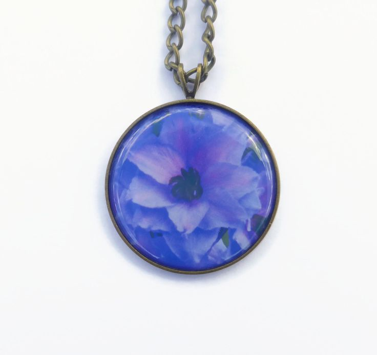 Blue Flower Necklace, Delphinium Flower Pendant,  Antique Bronze, Blue Flower Jewelry, Gift For Her, Nature Jewellery, Picture Necklace by Larryware on Etsy