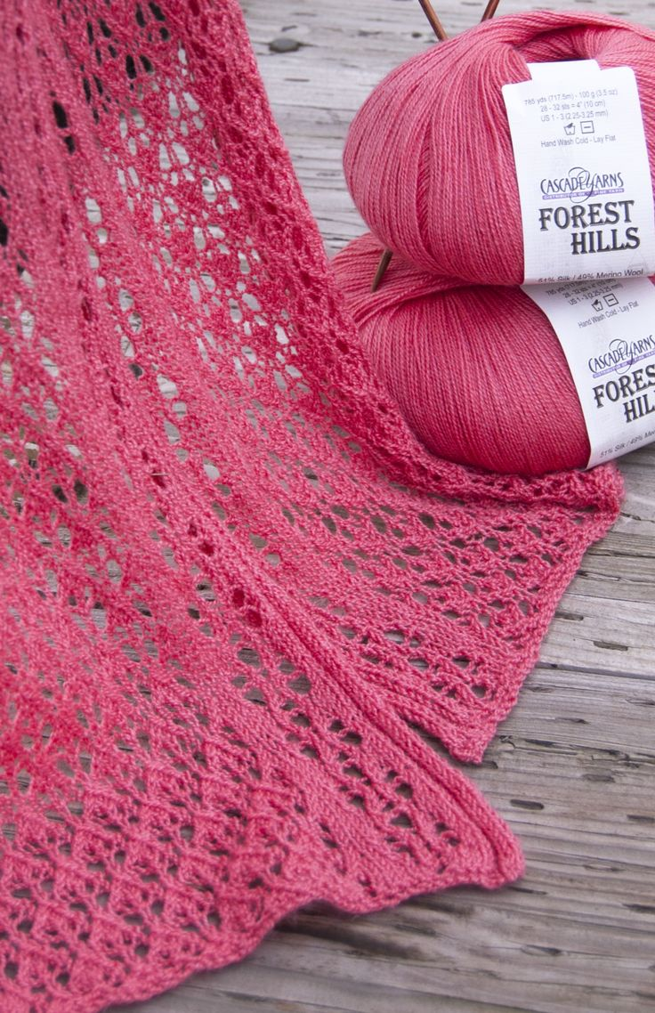 Lace Wool Knitting Patterns : Free pattern highlight   Cascade Yarns Forest Hills Lace Scarf knit with just...