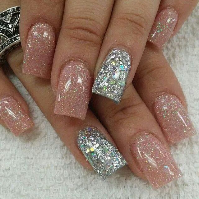 Pink and silver sparkles