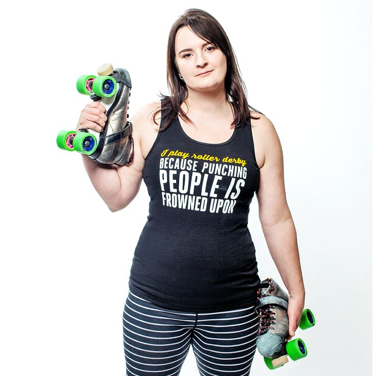 Women's Baby Rib Tank: I play roller derby because punching people is frowned upon by Asskicker Ink. #asskickerarmy