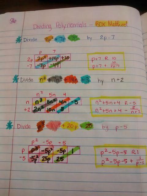 Dividing Polynomials using the Box Method