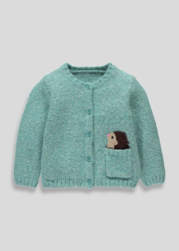 Girls turquoise knitted button-up cardigan with Hedgehog embroidery above the pocket.