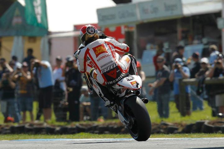 Marco Simoncelli celebrates his best ever result, 2nd at Philip Island