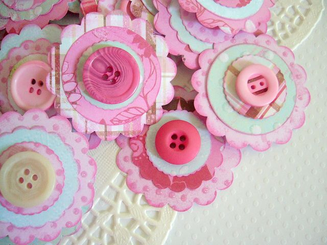 Cute button and paper embellishments