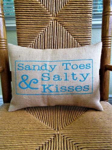 Sandy Toes And Salty Kisses Lumbar Burlap Pillow