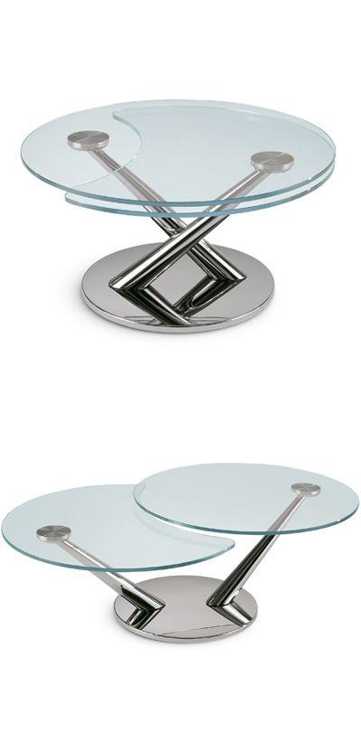 Kleiner Runder Couchtisch Aus Glas Mit Verstellbaren Metallbeinen
