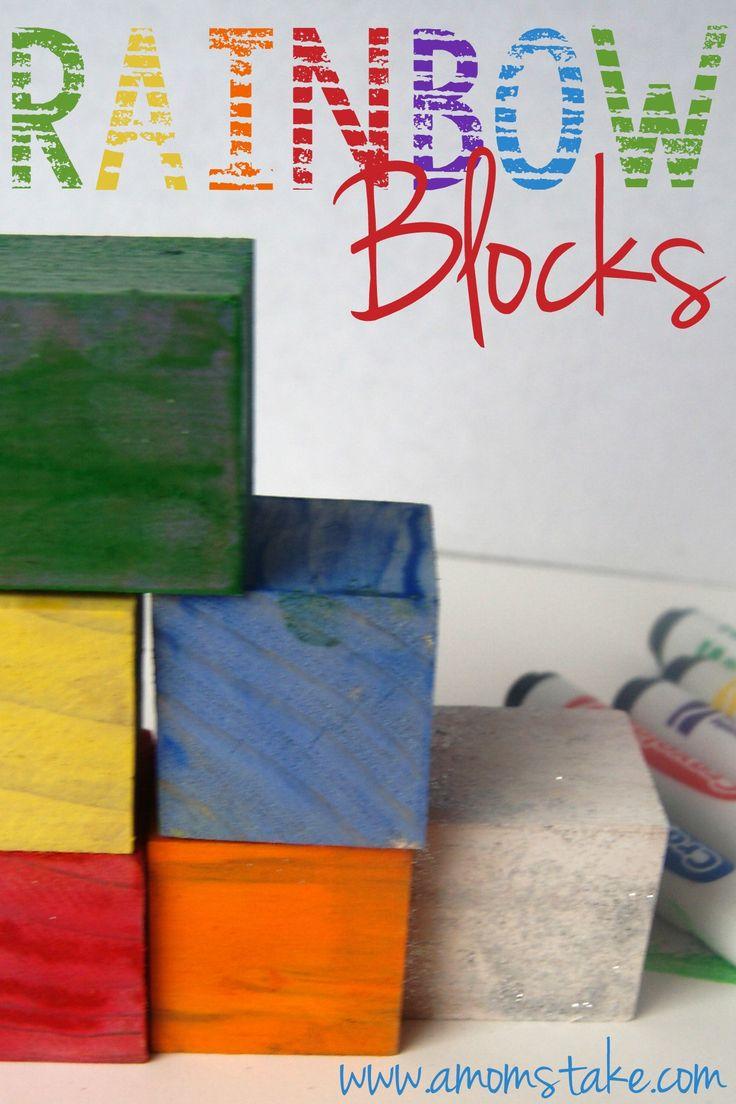 DIY Rainbow Blocks #StPatty #DIY