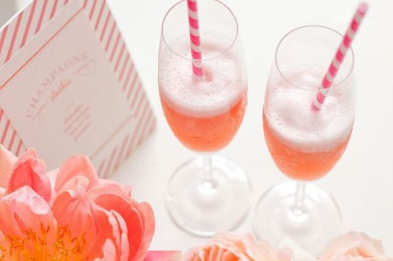pink champagne and paper straws - great idea for bridal showers or bridesmaid breakfast/luncheon.