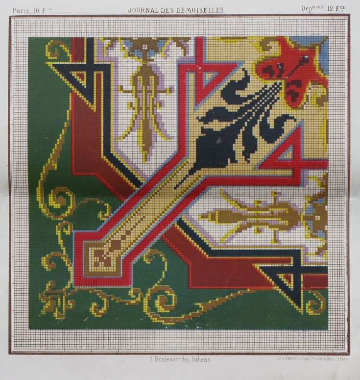 Pattern from 'Journal des desmoiselles' 1865-1869 Lith. La Vapeur de Dupuy.  Looks like Berlin Woolwork.