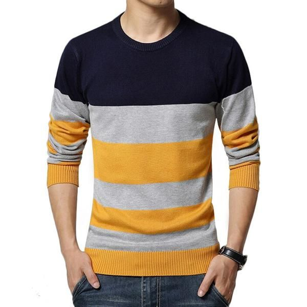Sweater Men Casual Sweaters  O-Neck Knit Warm Pullover