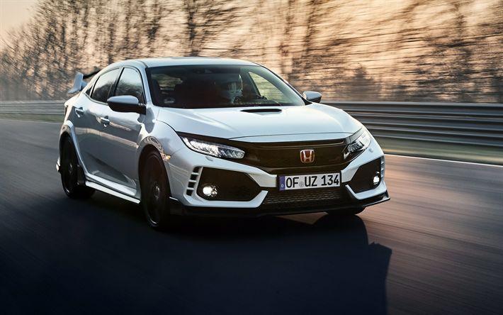 Télécharger fonds d'écran 4k, Honda Civic Type R, 2018 les voitures, la route, le mouvement, la Honda
