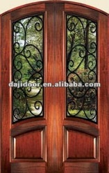 Wrought Iron Front Entry Doors Glass Inserts DJ-S9157MA