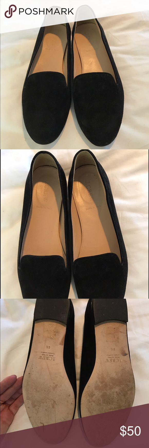 J. Crew black suede loafers Beautifully kept black suede loafers! Great for work or any casual every day wear. Super comfortable and easy to wear. Lightly worn, no scuffs or markings on the suede. J. Crew Shoes Flats & Loafers