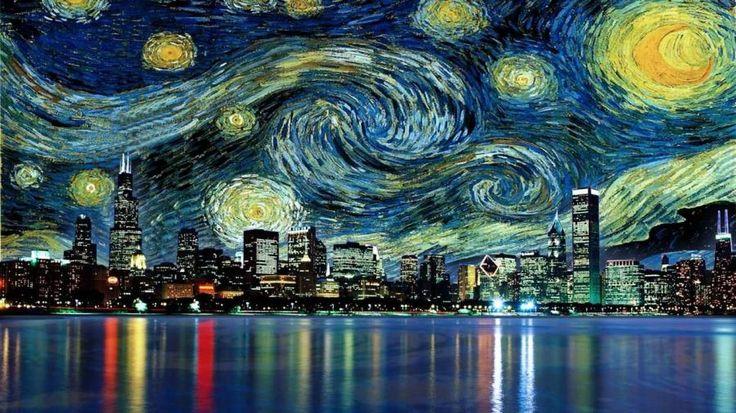 Van Gogh ChicagoVangogh, Favorite Places, Cities, Vans Gogh, Beautiful, Art, Night Chicago, Things, Starry Nights