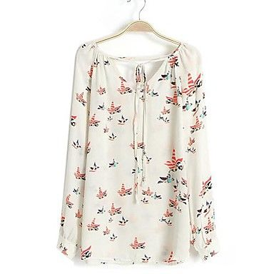 Women's Top Pigeon Pattern Drawstring Chiffon Blouse - USD $ 9.59