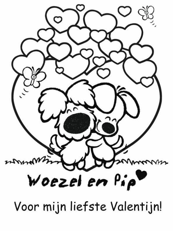 Woezel en Pip Valentijn kleurplaat. Valentine coloring Valentines Day
