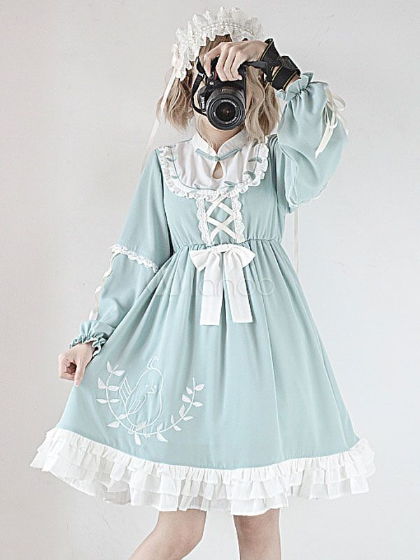 ccaf05717d0e Sweet Lolita OP Dress Leaf And Poetry Frill Bow Embroidery Lace Up Light  Green Lolita One Piece Dress