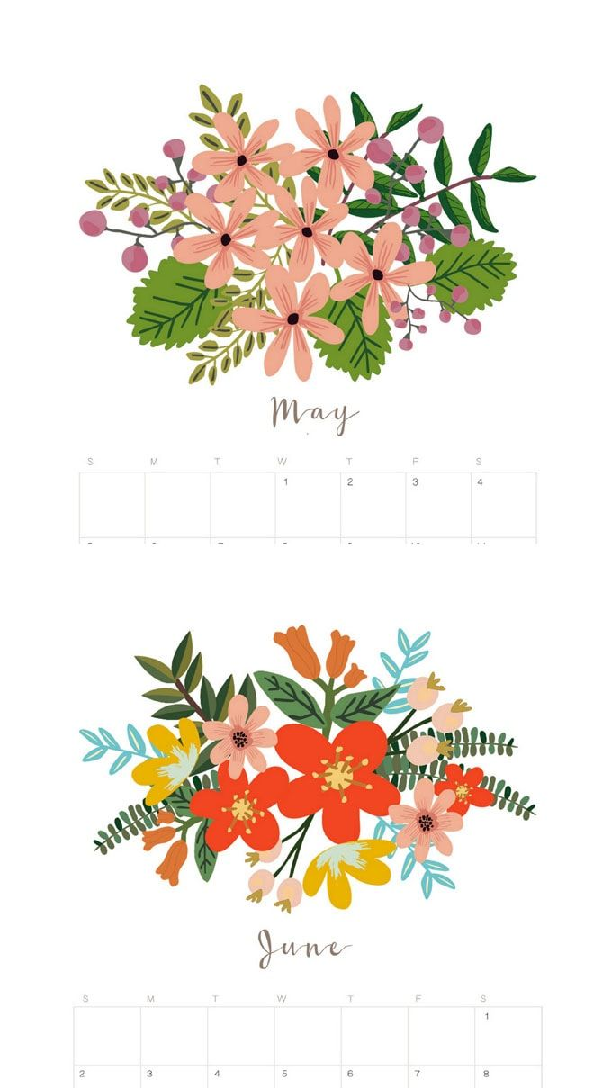 beautiful floral 2019 calendar  u0026 monthly planner  free