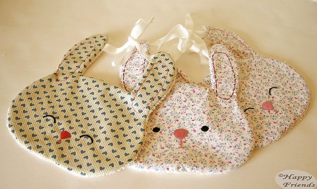DIY bunny bibs - so cute for a new baby