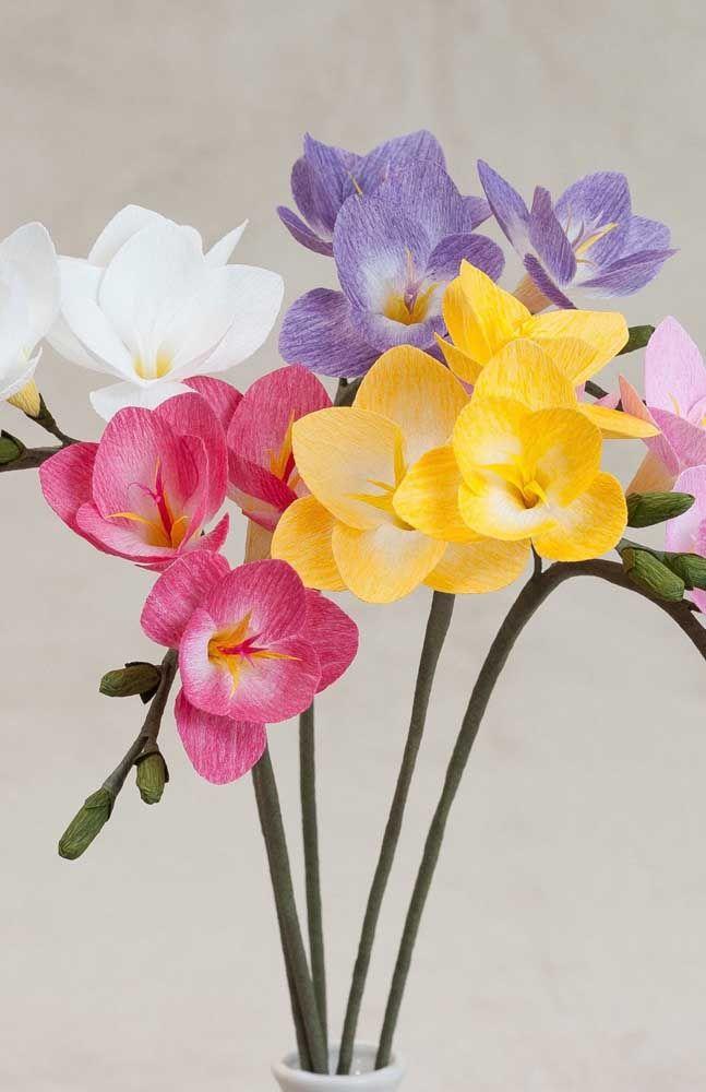 Orquideas Coloridas Feitas De Papel Crepom Para Decoracao Da Casa