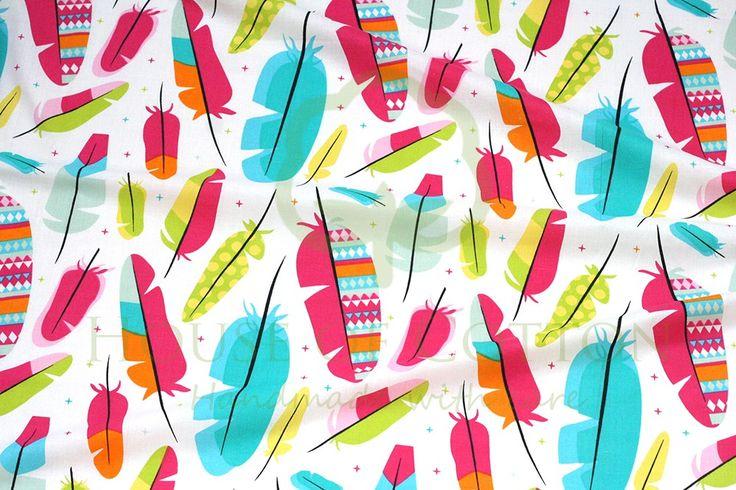 House of Cotton Bawełna kolorowe piórka tkaniny bawełniane na metry sklep