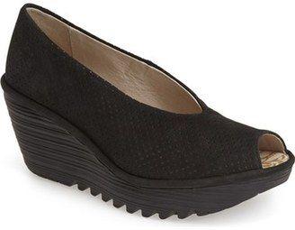 Fly London 'Yury' Perforated Peep Toe Pump (Women) #peeptoe #sale #shoes #hot