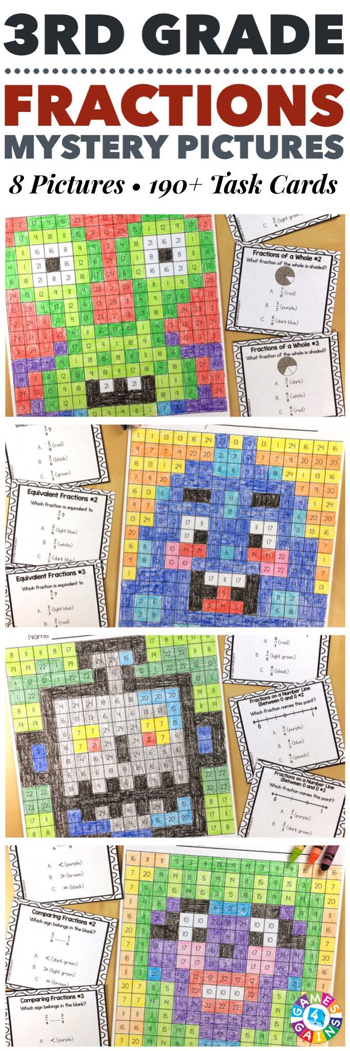 """""""I LOVE these mystery pictures for reinforcing concepts!"""" These 3rd Grade Fractions Mystery Pictures are perfect for practicing key 3rd grade Common Core fractions standards. This set includes 8 different pictures and over 190 task cards covering fractions of a whole, fractions of a group, fractions greater than 1, fractions on a number line, equivalent fractions, and comparing fractions!"""