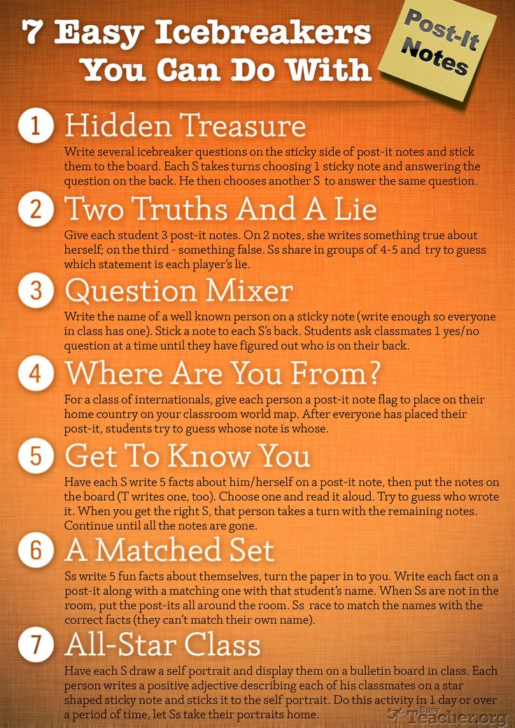 7 Easy Icebreakers You Can Do with Post-it Notes ( A Great Classroom Poster)