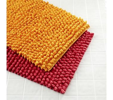 Kids Bath Accessories: Pink and Orange Bath Mats