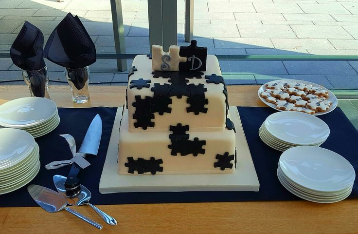 Puzzle themed wedding cake