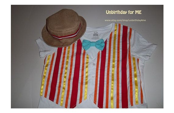 Jolly Holiday value pack , Bert Mary Poppins Jolly Holiday boy child boater hat and Tshirt vest 2T-4T, 5T to 10