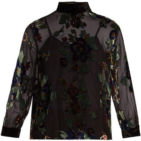 Masscob Floral-print velvet-devoré top (850 PEN) ❤ liked on Polyvore featuring tops, black multi, sheer cami top, velvet top, long-sleeve crop tops, velvet camisole and floral tops