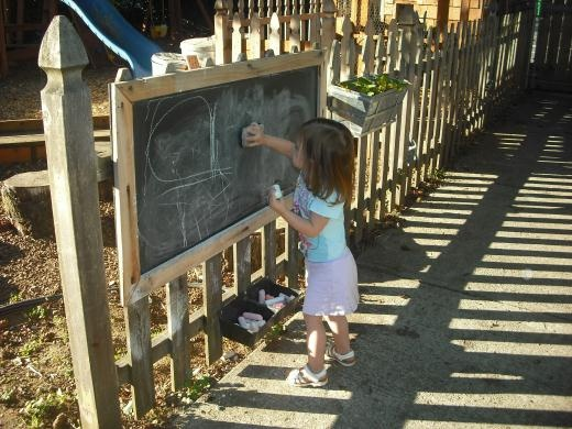 Outdoor fun: cover a frame with chalk board paint and use large sidewalk chalk to encourage children to use their imagination ... hang on a fence or cubby. | The Micro Gardener