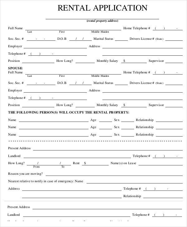 28 Tenant Information Form Template In 2020 Rental Application