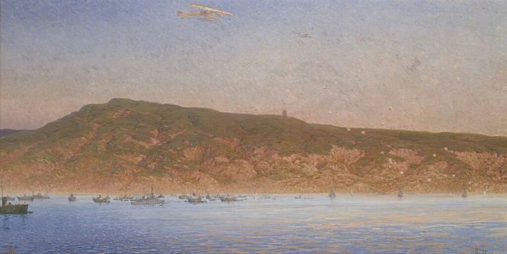 Landing at Anzac Cove, April 25th, 1915. Oil on canvas, by William Wiehe Collins, c. 1918, National Gallery of Victoria