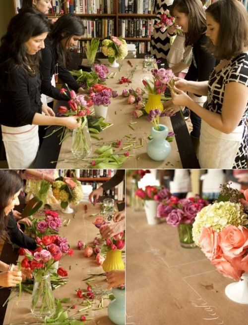 ask guests to bring their favorite container or supply some for them), and hire a florist to teach an arranging class.