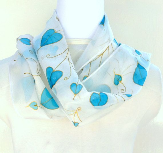 Hand Painted Silk Scarf Painted Hearts Scarf  by SallyAnnesSilks