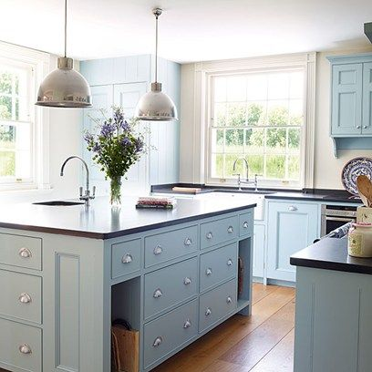 Light Blue Kitchen Units painted in 'Dufour' by Zoffany in Kitchen Cabinets & Units on HOUSE. A range of ideas for kitchen cabinets and units