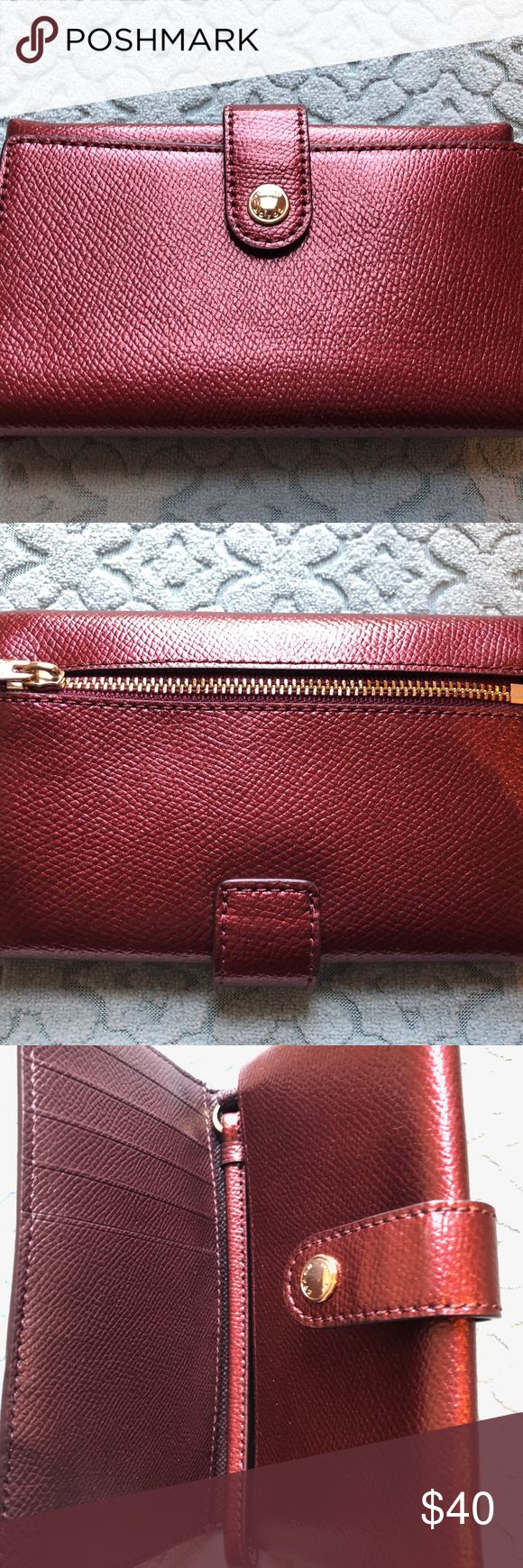COACH RED LEATHER METALLIC WALLET/WRISTLET NWT This listing is for a cute metall…