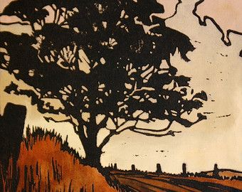 This original linocut print depicts a wintery sunset scene looking across the water in Tasmanias east coast town, BIcheno. I love the shape of the tree silhouetted against the glowing sky and sea. I hand carve the traditional silk-cut lino and print with oil based printing ink. This design is printed on a warm, sandy coloured Stonehenge printmakers paper with a deckled/torn edge. Each print is hand coloured with artist quality water colour and is signed and dated. The print run is limite...