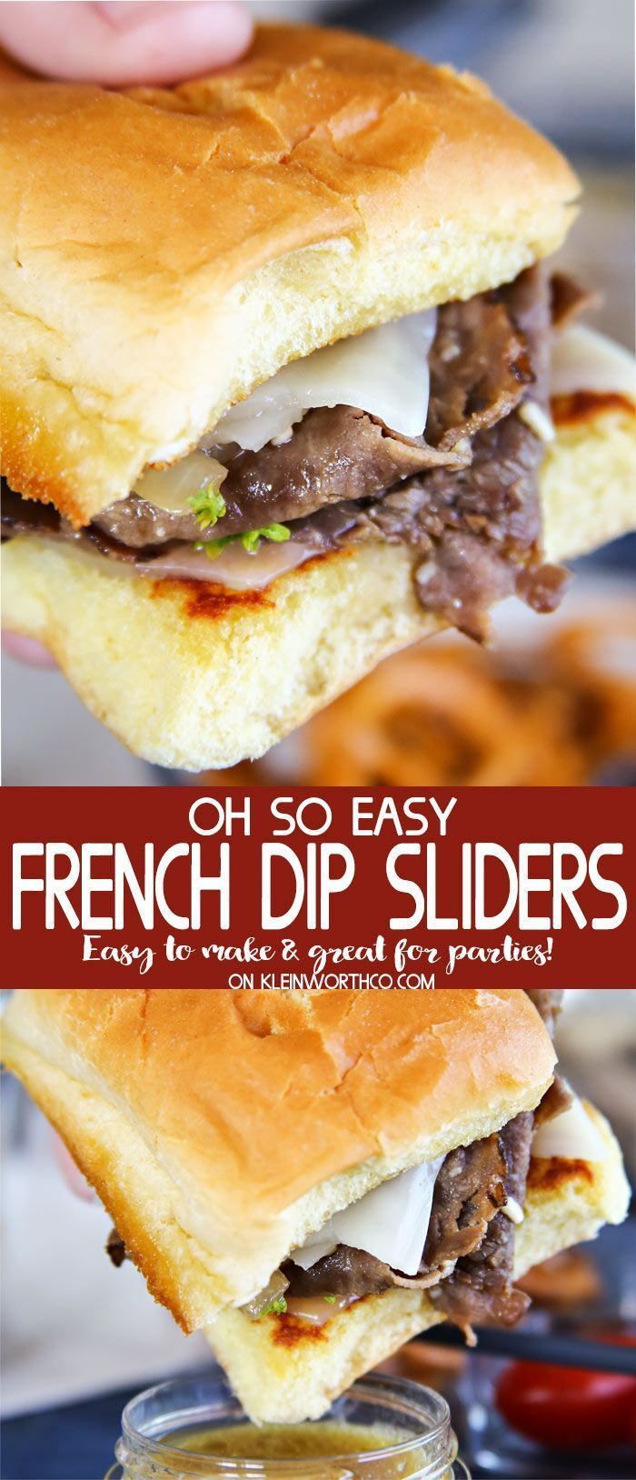 Easy French Dip Sliders are great for picnics, parties & tailgating fun. Simple to make, with homemade au jus for dipping these roast beef & caramelized onion sliders. AD