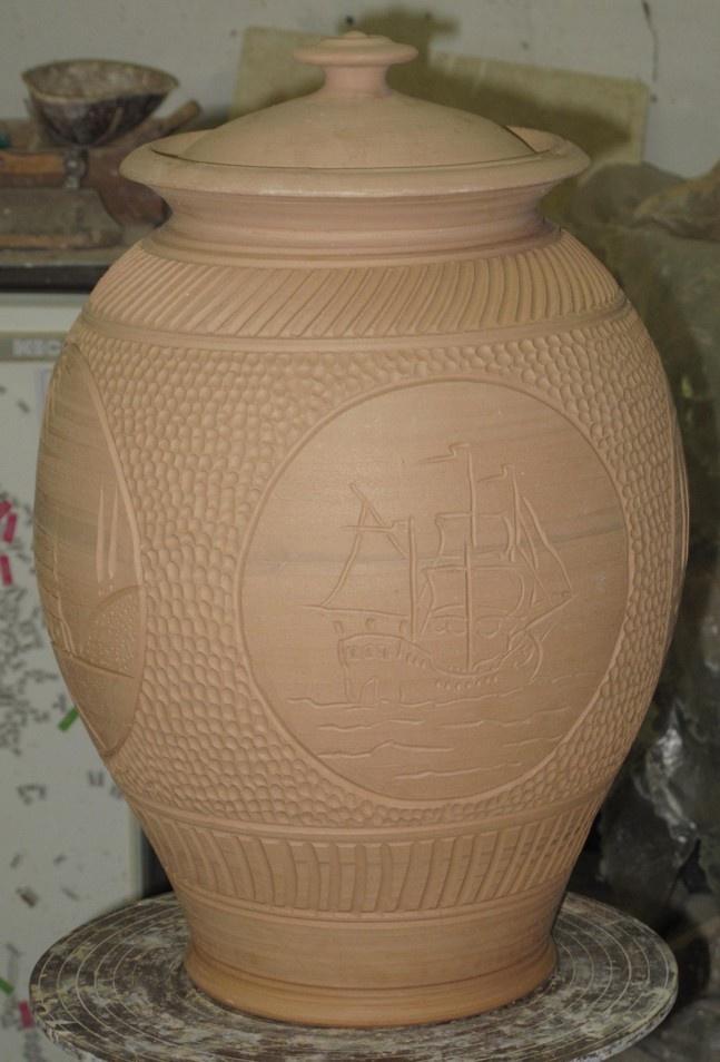 Newly made large terracotta jar