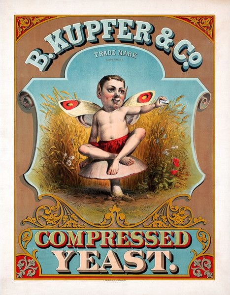 B. Kupfer & Co. Compressed Yeast. Circa 1877 label showing a sprite holding compressed yeast